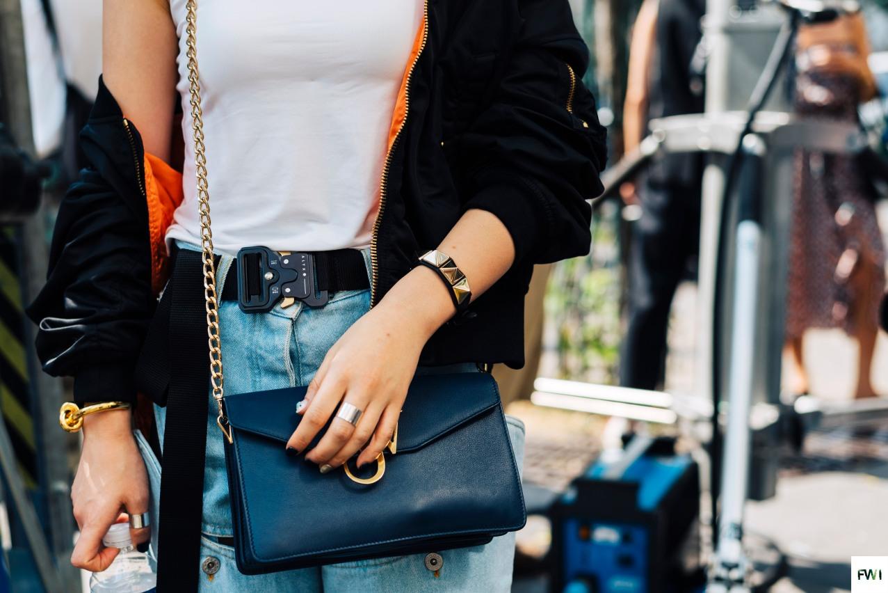 Alyx belt, JW Anderson bag, Ambush bracelet